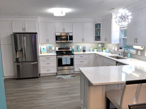 Florence Kitchen Cabinets White with Blue Accents