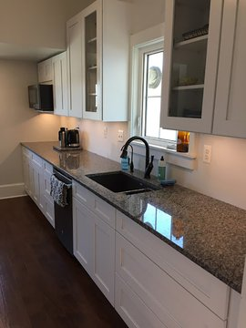 Florence Kitchen Cabinets White with Dark Accents